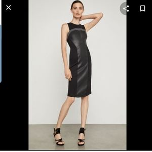 Bcbgmaxaria faux leather trimmed dress